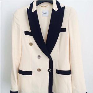 Moschino navy/cream double breasted blazer IT40